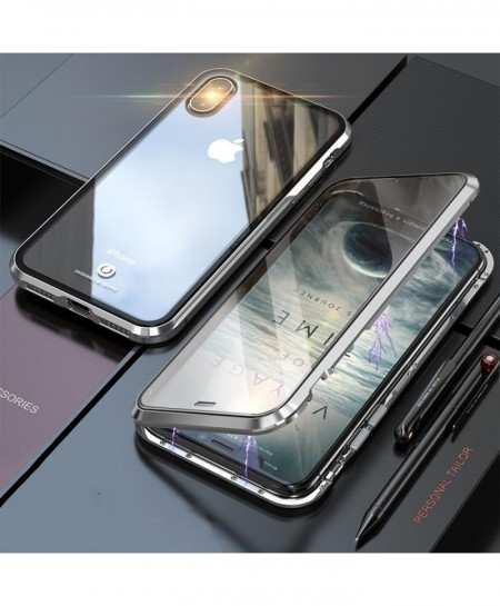 BOBYT Silver Metal Bumper Tempered Glass Case