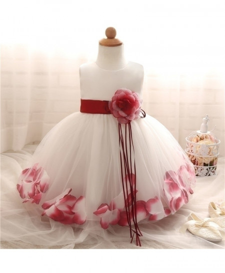 Fairy Petals Flower Red Baptism Baby Girl Dress