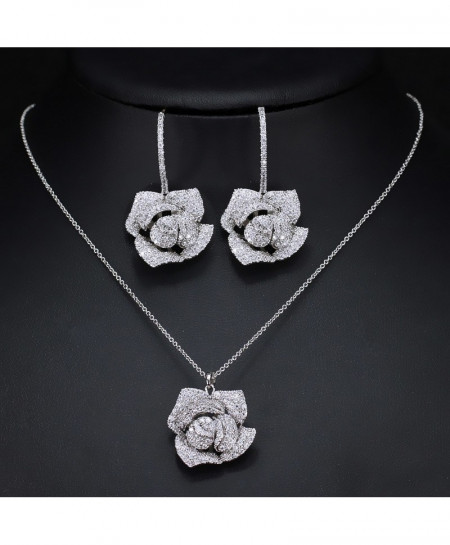 Silver Geometric Flower Design Cubic Zircon Jewelry Set
