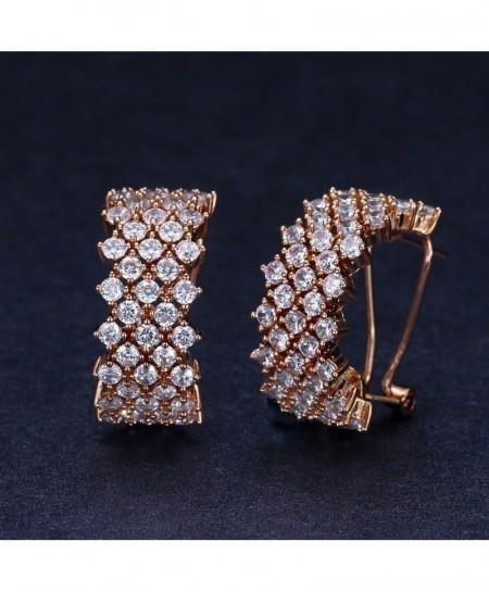 Rose Golden Cubic Zirconia Stone Paved Round Hoop Earrings