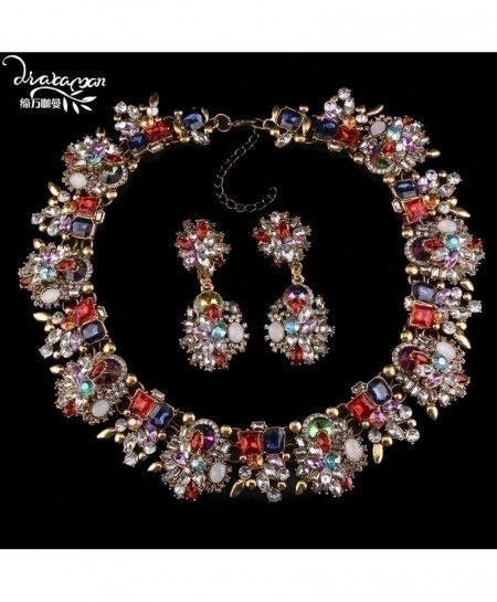 Red Crystal Flower Statement Jewelry Set