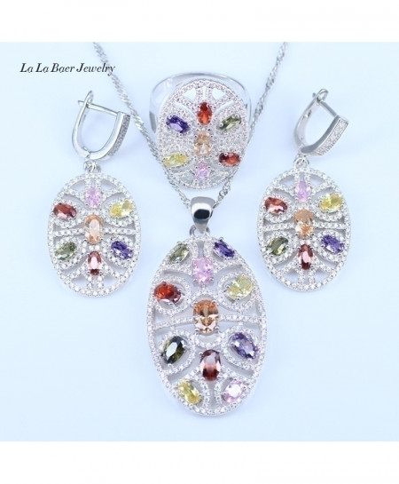 Multicolor 925 Sterling 3pcs Silver Jewelry Set