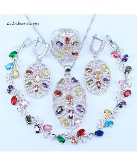 Multicolor 925 Sterling 4pcs Silver Jewelry Set