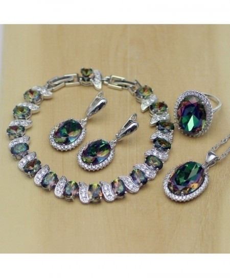 Multicolored 925 Sterling Silver Jewelry Mystic Fire Rainbow Jewelry Set