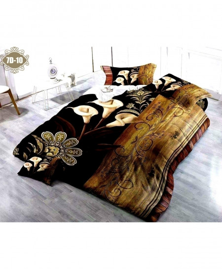7D Black Wooden Digital Printed Bedsheet SN-10