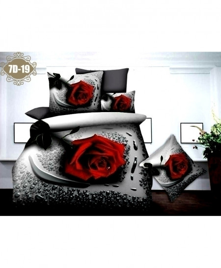 7D Red White Floral Digital Printed Bedsheet SN-19
