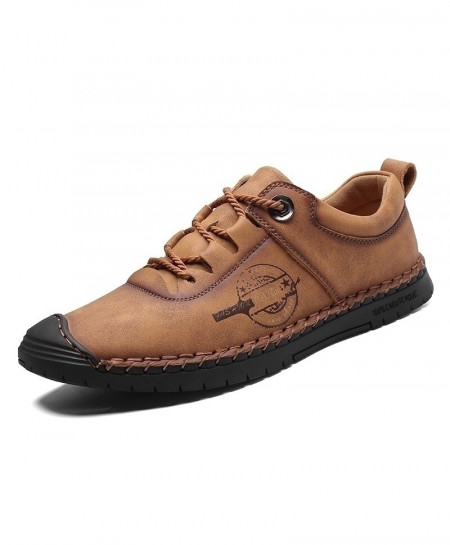 Vancat Brown Split Leather Moccasins Casual Shoes