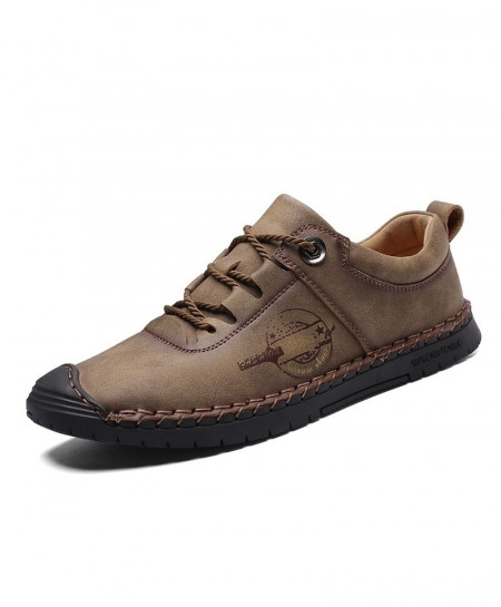 Vancat Khaki Split Leather Moccasins Casual Shoes