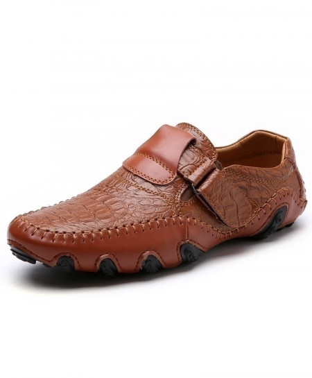 ENLEN&BENNA Brown Leather Flat Slip on Casual Shoes