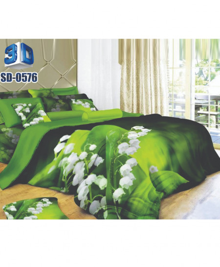 3D Green Floral Stylish Design Bedsheet RB-0576