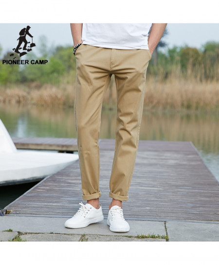 Pioneer Camp Khaki Long Stretchable Chino Pants