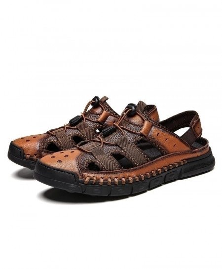 ALCUBIEREE Brown Leather Retro Sewing Casual Sandal