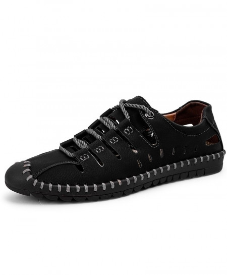 Black Roman Stylish Leather Casual Shoes