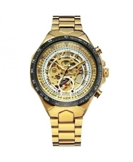 WINNER White Golden Skeleton Mechanical Watch