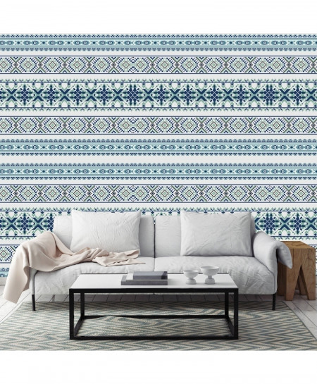 3D Cross Stitched Blue Pattern Wallpaper BNS-365
