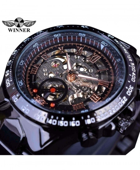 Winner All Black Classic Series Stainless Steel Watch