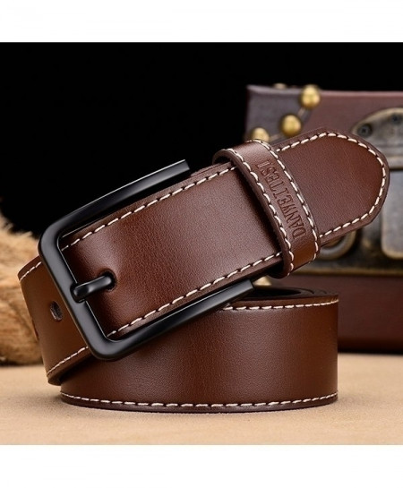 Coffee Leather Strap Pin Black Buckle Belt