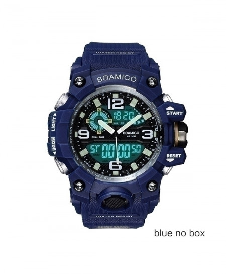 BOAMIGO Blue Digital LED Swim Quartz Rubber Wristwatches