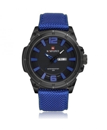 NAVIFORCE Blue Canvas Leather Sport Quartz Wristwatches