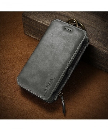 FLOVEME Grace Gray Business Leather Wallet Phone Case