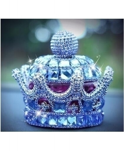 MR TEA Navy Blue Crystal Crown Diamond Dashboard Ornament