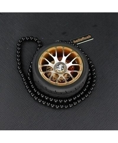Golden Bold Wheel Alloy Mirror Hanging Car Ornament