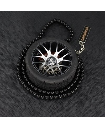 Black Bold Wheel Alloy Mirror Hanging Car Ornament