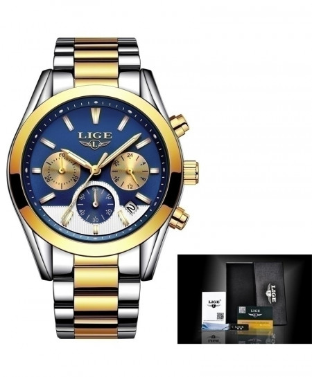 LIGE Steel Golden Blue Business Quartz Watch