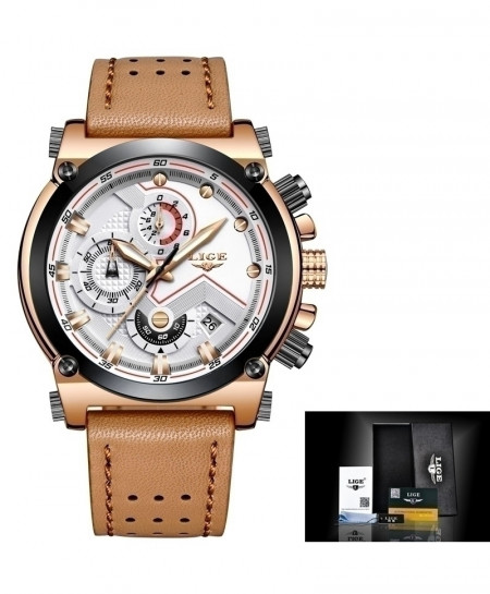 LIGE Leather Gold Brown White Automatic Quartz Waterproof Watch