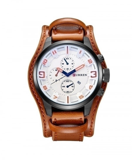 Curren Brown White Military Steampunk Quartz Watch