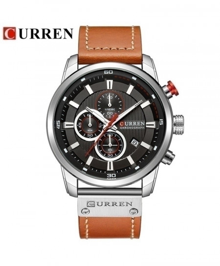 CURREN Black White Leather Strap Quartz Watch