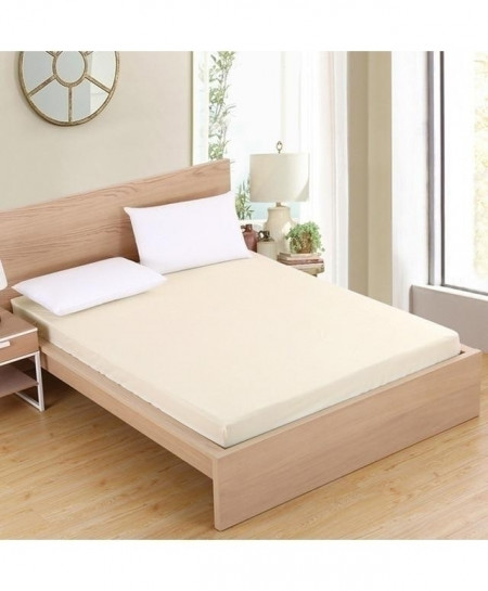 Cream Jersey King Size Fitted Bedsheet BNS-403