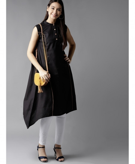 Black Contrast Tipping Style Ladies Kurti ALK-203