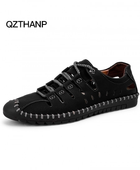 QZTHANP Black Summer Leather Casual Shoes