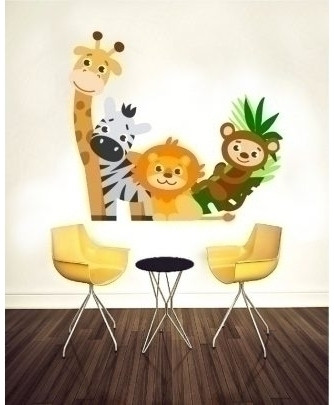 Animated Cute Animals Stylish Design Wall Decal BNS-419