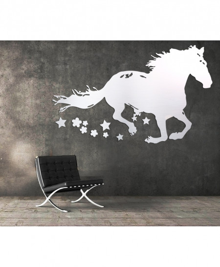 Silver Horse Stylish Design Wall Decal BNS-454