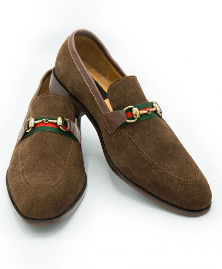 Brown Buckle Up Suede Loafer JC-249