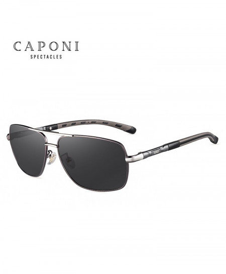 Caponi Metallic Gray Square Avaitor Photochromic Sunglasses