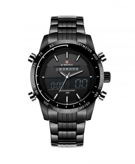 NAVIFORCE Black White Sport Digital Analog Full Steel Watch