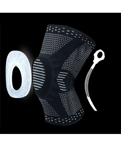 Black Knee Protector Brace Silicone Spring Knee Pad