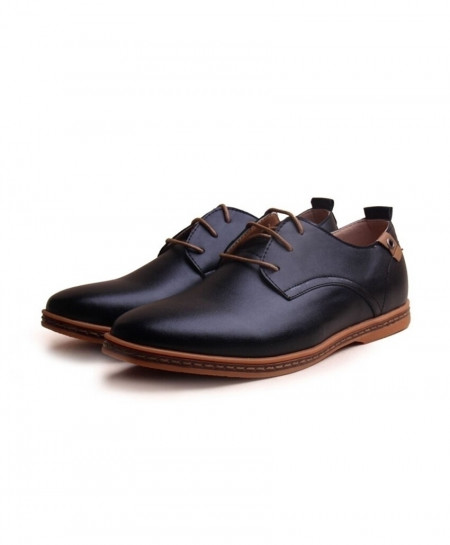 ZXQ Black Leather Round Toe Comfortable Dress Shoes