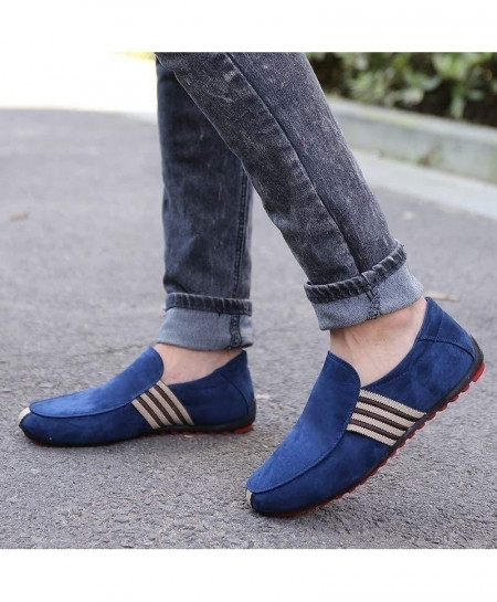 Blue Suede Leather Breathable Slip On Shoes