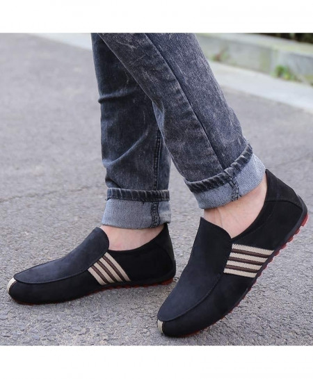 Black Suede Leather Breathable Slip On Shoes