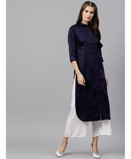 Navy Blue Front Long Pleated Style Ladies Kurti ALK-219