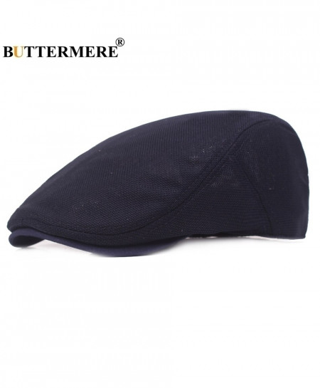 BUTTERMERE Navy Blue Breathable Solid Cotton Beret Hat