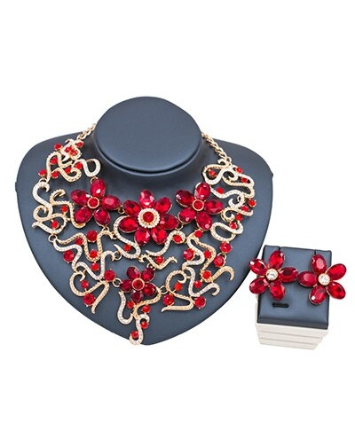 LAN PALACE Red Stylish Jewelry Set121