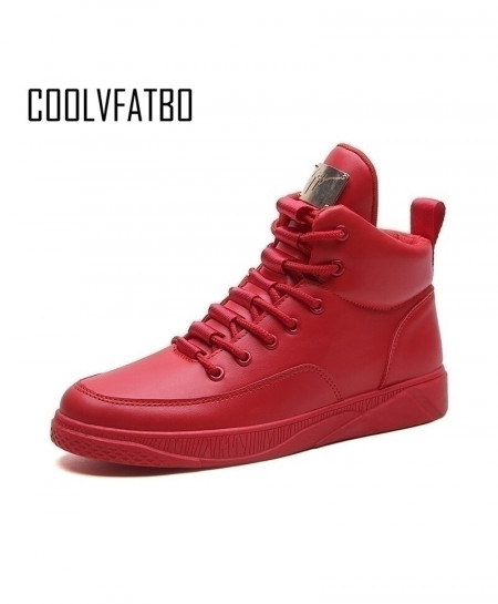 COOLVFATBO Red Breathable Canvas High Top Lace-Up Casual Boots