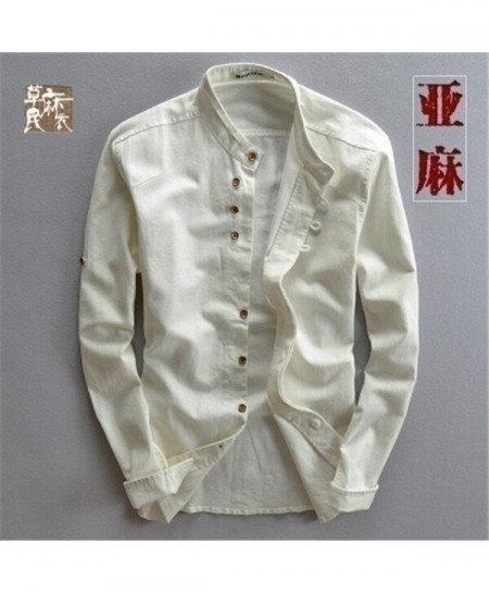 Mairuker White Linen Long Sleeve Shirt
