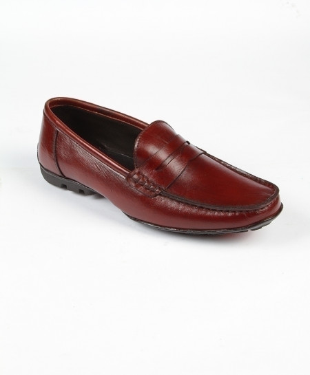 Maroon Leather Casual Shoes LC-375