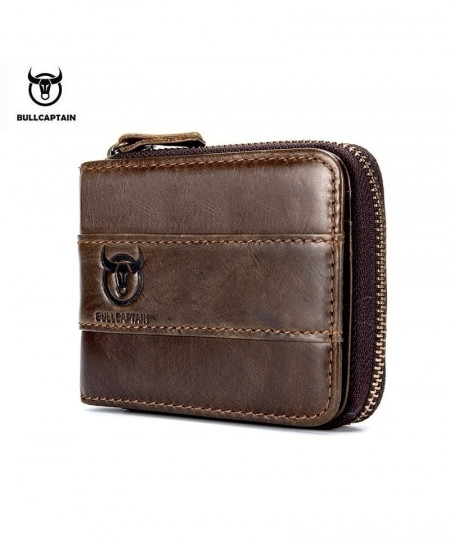 BULLCAPTAIN Brown Cowhide Coin Purse Slim Wallet